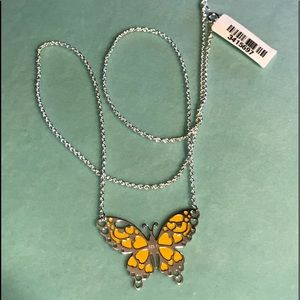 Jewelry - Sterling Silver Enameled Butterfly Necklace